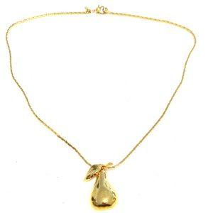 """Vintage Monet Gold Necklace Pear Stem Pendant 15"""""""